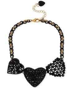 Betsey Johnson Gold-Tone Black Three Heart Frontal Necklace