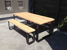 wwwlumberfurniturecomau  OUTDOOR SETTING A 33cm thickness blackbutt, spotted gum or Jarrah table top with powder coated stainless steel or aluminium loop ..., 1092302012