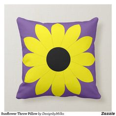 Sunflower Throw Pillow Accent your home with custom pillows from Zazzle and make yourself the envy of the neighborhood. Made from high-quality Simplex knit fabric, these 100% polyester pillows are soft and wrinkle-free. The heavyweight stretch material provides beautiful color.. #pillow #square #homedecor #home #interiordesign #interiors #interiorstyling #bedroom #bedroomdecor #oblong #zazzle #zazzlemade #zazzlecom #zazzlestore #autumn #sunflower #yellow #september