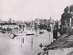 Un vaporetto sul Tevere a Ripagrande, c. 1860