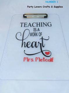 Personalized clipboard for Teacher, Teacher appreciation Week, End of the year Teacher gift, Teacher Thank you gift, Teacher Clipboard gift  They are made by order!   Very cute idea for Teachers gift!  IMPORTANTE NOTES:  When placing your order please include the following in the To