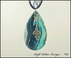 Blue Druzy Pendant Druzy Geode Agate by NightWalkerDesigns on Etsy, $24.00  Tiny crystal beads like raindrops with umbrella!