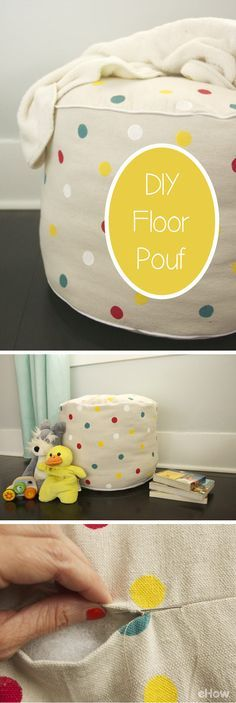 Poufs are a great addition to any bedroom (or dorm)! This tutorial shows you how easy it is to make and inexpensive compared to what you'd have to pay for in the store. Best part is you can customize the decor to fit your style! DIY instructions here: http://www.ehow.com/how_12008253_make-floor-pouf.html?utm_source=pinterest.com&utm_medium=referral&utm_content=freestyle&utm_campaign=fanpage