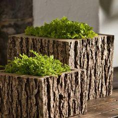 Campania International Mini Low Reef Square Cast Stone Planter Aged Limestone, Durable