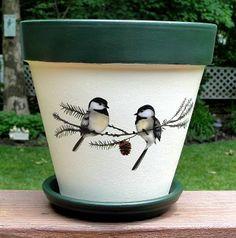 hand decorated flower pots | Chickadee hand-painted flower pot | Christmas Cheer