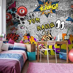 Custom Graffiti Wallpaper WallMural Your Name On Wall | Etsy Pearl Wallpaper, Wallpaper Size, Elephant Wallpaper, Break Wall, 3d Wall Murals, Graffiti Wallpaper, I Can Do It, Wall Prints, Wall Design