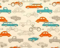 Premier Prints RETRO RIDES MANDARIN NATURAL Decorative Fabric BL1c #PremierPrints
