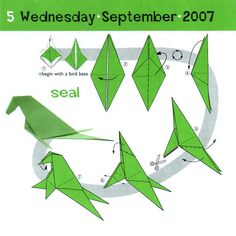 Money Origami Instructions for Beginners | origami seal folding instructions with 7 step diagram jpg origami