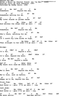 Song Lyrics with guitar chords for Beyond The Sea - Bobby Darin, 1960