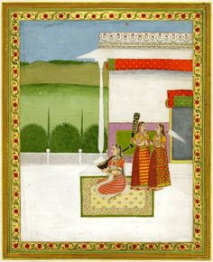 In this painting from India in c. 1750, a seated woman plays a musical instrument with attendants.