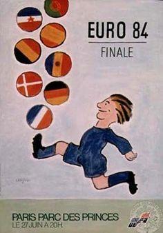 Euro 84 Finale - Paris Parc des Princes by Savignac, Raymond Vintage Advertisements, Vintage Ads, Vintage Posters, Saul Bass, Memes Box, Ad Sports, Sports Posters, Pop Art, Soccer Poster