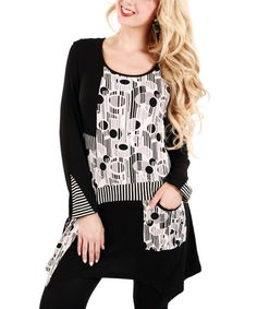 This Black & White Dot Stripe Sidetail Tunic by Aster is perfect! #zulilyfinds