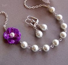 Bridesmaids Gift  Custom Flower and Pearl Necklace by lecollezione, $35.00