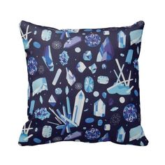 Zippered Blue Gems Throw Pillow Cover by Primal Vogue™ - Various Sizes 14x14 16x16 18x18 20x20 - White, Purple and Blue - Crystals Quartz