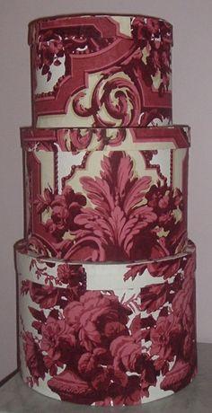 1890's Victorian Wallpaper Hat Boxes