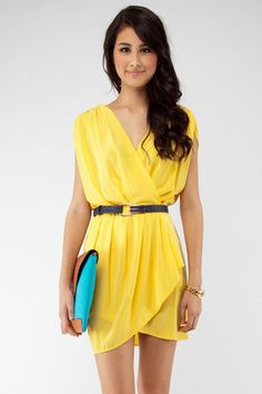 New Colors on the Block Belted Dress in Yellow $33 at www.tobi.com
