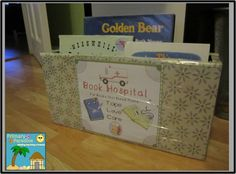 """Make your own book hospital for kids to put """"sick"""" books that need a little TLC (Tape, Love, and Care)."""