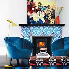 Love the tiled fireplace