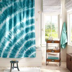 Tatum Tie-Dye Shower Curtain - Pool | PBteen