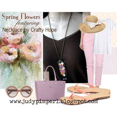 Spring Flowers- Crafty Hope Necklace by judypimperl on Polyvore featuring H&M, FAY, Scoop, Baggallini, Gottex and Valentino
