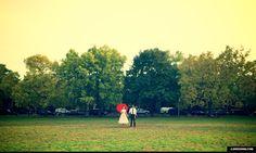 chicago park field vintage Polka Dot Dress engagement photos red umbrella