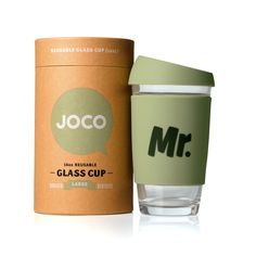 JOCO WELL SAID takeaway cups share a thought, a catchy phrase, a little humour or a simple word that is just right. Choose your personal favourite or gift your choice to a friend, couple to be, work mate, teacher or sidekick. Make a statement or mix it up with something WELL SAID! | 16 oz. Army green | SHOP www.jococups.com | #gift #bridalgiftidea #weddinggiftidea #his #armygreen #reusablecup #husband #takeawaycoffeecup #travelmug #coffee #tea #Mr #jococups #glass #glasscup #wellsaid
