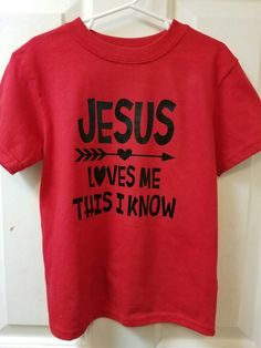 Jesus Loves Me Boy's Shirt | Heat Transfer vinyl | Font is Cricut Zoo Day
