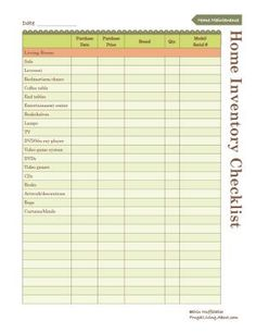 Use This Free Printable to Create an Inventory of Your Home: Home Inventory List