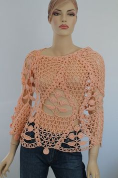 Apricot Cotton Lace Crochet Shawl   Holiday by levintovich on Etsy, $129.00
