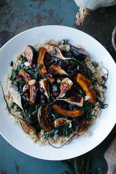 A Daily Something | Warm Quinoa Salad with Roasted Black Radishes, Kabocha Squash, and Sautéed Collard Greens