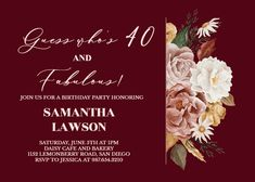 Nocturnal Flowers - Birthday Invitation #invitations #printable #diy #template #birthday #party Daisy Cafe, 40 And Fabulous, Gift Registry, Birthday Invitation Templates, Rsvp, Create Yourself, Printable, Party, Flowers