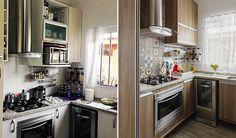 Os armários da cozinha estavam em bom estado, porém o padrão clarinho incomodava a moradora, além dos azulejos sem graça e a cerâmica velha do piso