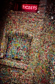 Stick a piece of gum on The Gum Wall in Pike Place Market in Post Alley...Seattle, WA (X) 2017