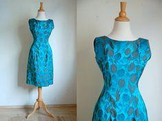 Vintage 1960s Blue Wiggle Dress  // 1960s Tulip Dress // Tulip Garden. $68.00, via Etsy.