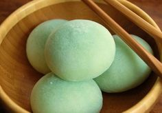 Mochi. Enjoy with a cup of green tea. Japanese confection (wagashi) made with sticky rice and assorted fillings such as red bean paste, strawberries, and sweet chestnut.
