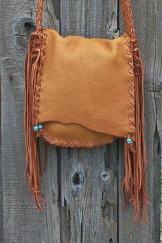 Crossbody shoulder bag with fringe  Buckskin by thunderrose