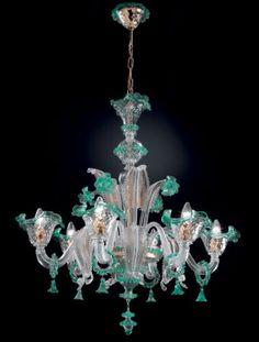 Lustre 6 lumierès Topdomus San Marco cristal,vert et or authentique de Murano | eBay
