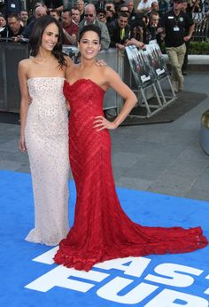 Actresses Jordana Brewster, left, and Michelle Rodriquez arrive for the World Premiere of Fast & Furious 6, at a central London cinema in Leicester Square, Tuesday, May 7, 2013. (Photo by Joel Ryan/Invision/AP)