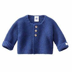 Petit Bateau Baby-Cardigan aus Baumwoll- und Wollstrick blau