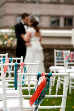 Decorate the aisle chairs with coordinating ribbons of teal, gray and peach   1950s Wedding Ideas   Confetti Daydreams