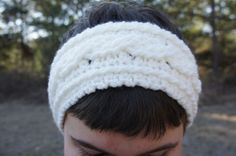 Crochet White Cable and Ribbed Headband Ear cover by ToniDStudio
