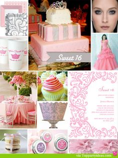 Sweet 16 Birthday Party Ideas Collage with Peach and Silver Theme