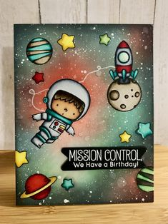 Creating a Fun and Colorful Scene! – My Favorite Things (MFT) Space Explorer and Galaxy background Creative Birthday Cards, Birthday Cards For Friends, Handmade Birthday Cards, Creative Cards, Boy Cards, Cute Cards, Slider Cards, Card Maker, Homemade Cards
