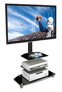Mount-It! MI-870 TV Cart Mobile TV Stand Wheeled Flat Screen Television Stands with Rolling Casters and Three Glass Shelves, VESA Compatible TV Mount Bracket Fits Displays from 32 to 60 Inch, 66 Lb