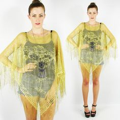 vtg 90s boho gypsy GOLD SHEER LACE CROCHET FRINGE poncho shawl cape dress top OS $18.00