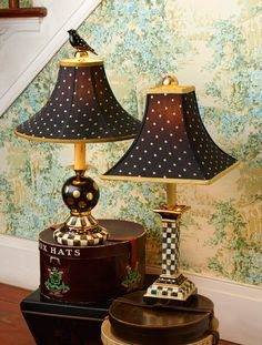 Courtly Check will light up any spot. Loving this Courtly Check style from From dinnerware to lamps to furniture, they have it all. Decor, Furniture, Painted Furniture, Lamp, Mackenzie Childs Diy, Home Decor, Light Decorations, Whimsical Furniture, Furnishings