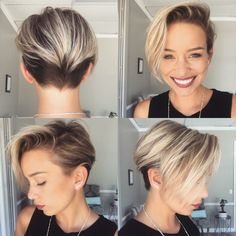 cortes de pelo mujer, corte estilo garcon con flequillo rubio largo ladeado