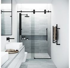 VIGO Elan H x to W Frameless Bypass/Sliding Matte Black Shower Door (Clear Glass) at Lowe's. The VIGO Elan adjustable Frameless shower door is everything you want and need to complete your modern bathroom remodel. Vigo Shower Doors, Frameless Sliding Shower Doors, Glass Shower Doors, Bathtub Doors, Sliding Doors, Entry Doors, Modern Shower Doors, Bathroom Shower Doors, Sliding Wall