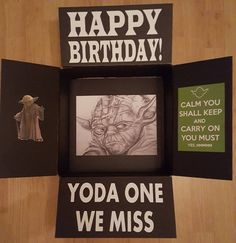 Star Wars Yoda Military care package decorated box to make deployed smile. Missionary Care Packages, Deployment Care Packages, Missionary Gifts, Surprise Boyfriend, Boyfriend Birthday, Boyfriend Gifts, Star Wars Birthday, Birthday Box, Birthday Ideas