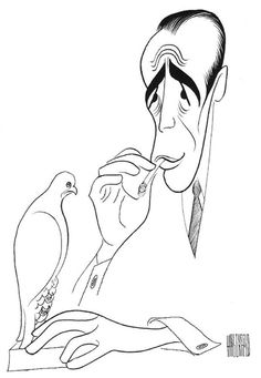 I loved Hirshfelds drawings in the NYT, I always searched for the Ninas.   MALTESE FALCON, Humphrey Bogart by Al Hirscheld